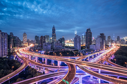 Elevated Road「Aerial view shanghai highway at night」:スマホ壁紙(18)