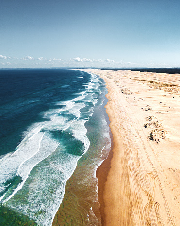波「ストックトンの砂浜の風景の空撮」:スマホ壁紙(18)