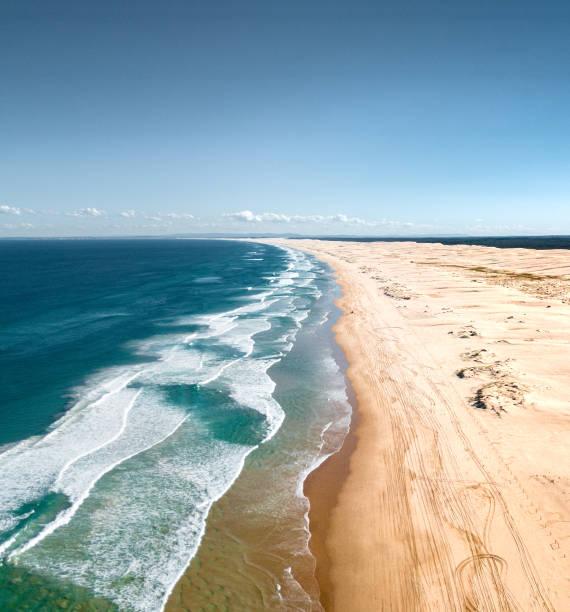ストックトンの砂浜の風景の空撮:スマホ壁紙(壁紙.com)