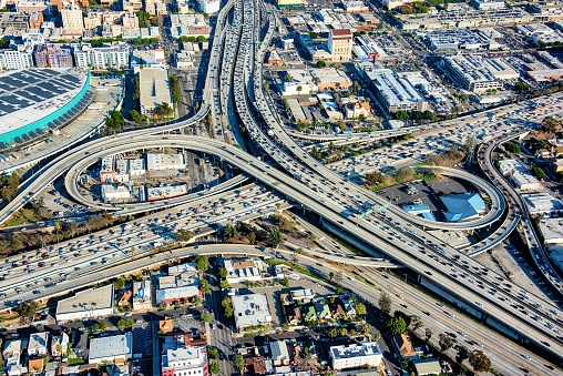 Elevated Road「Aerial View of Busy Freeway Interchange」:スマホ壁紙(4)