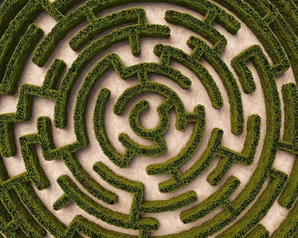 Aerial view of circular hedge maze:スマホ壁紙(壁紙.com)