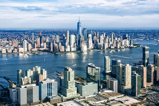 New Jersey「aerial view of Manhattan from Jersry City. New York. USA」:スマホ壁紙(7)