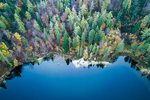 Austria「Aerial view of fall trees surrounding an alpine lake, Elben, Salzburg, Austria」:スマホ壁紙(2)