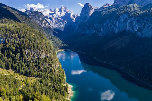Salzkammergut「Aerial view of Lake Gosau and Dachstein, Austria」:スマホ壁紙(8)