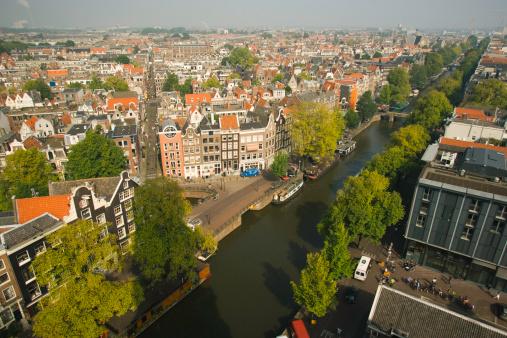 Amsterdam「Aerial view from Tower, Westerkerk Dutch Protestant Church」:スマホ壁紙(1)