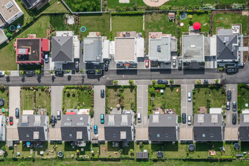 North Rhine Westphalia「Aerial view of housing development」:スマホ壁紙(19)