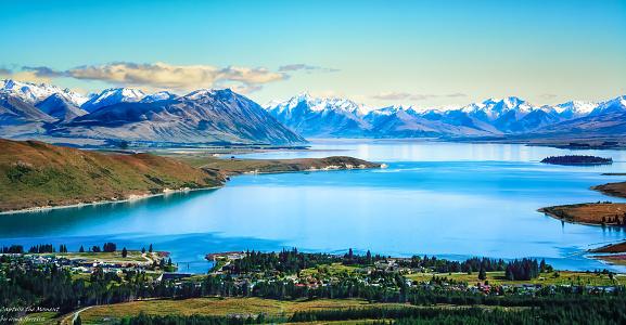 Mt Cook「Aerial view of Lake Tekapo, Canterbury, New Zealand」:スマホ壁紙(3)