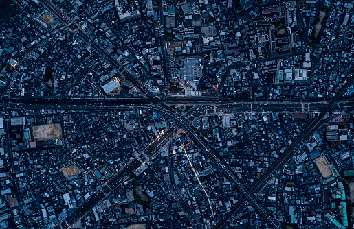 City Life「Aerial View Of Osaka, Japan」:スマホ壁紙(9)