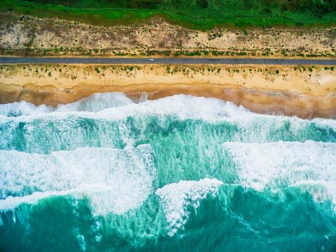 Island「Aerial view of sea waves and beach」:スマホ壁紙(6)