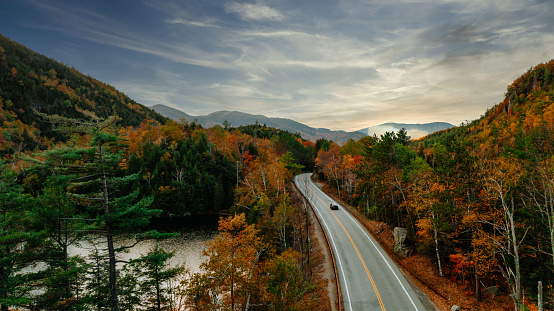 Adirondack Mountains「Aerial view of the mountains in autumn with the foliage」:スマホ壁紙(1)