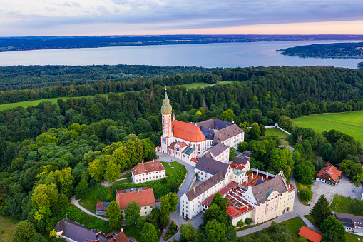 Abbey - Monastery「Aerial view of Andechs Monastery at Upper Bavaria, Germany」:スマホ壁紙(12)