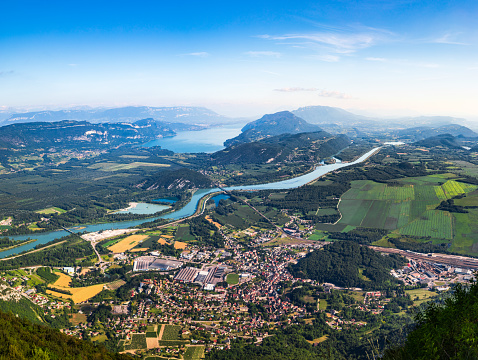 River「Aerial view of beautiful French landscape in Bugey mountains, in Ain department Auvergne-Rhone-Alpes region, with Culoz small town, the Rhone River and famous Lake Bourget in background in summer」:スマホ壁紙(13)