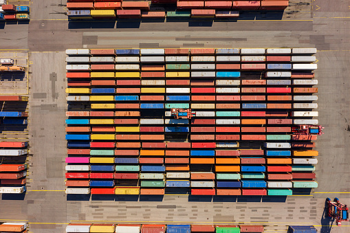 Consumerism「Aerial view on a container port, Germany」:スマホ壁紙(1)