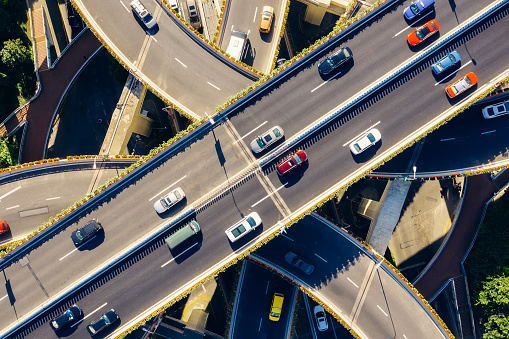 Traffic「Aerial view of Highway at sunny day.」:スマホ壁紙(5)