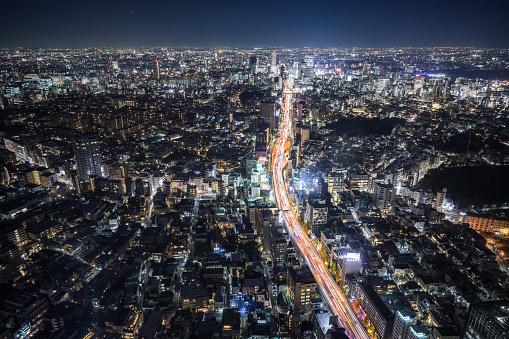 Horizontal「上空から見た東京の夜」:スマホ壁紙(7)