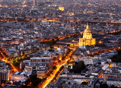 Arc de Triomphe - Paris「Aerial view of Paris at night」:スマホ壁紙(10)