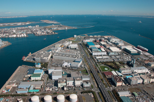 Industrial District「Aerial view of Higashi Ogi Island, Kawasaki City, Kanagawa Prefecture, Honshu, Japan」:スマホ壁紙(1)