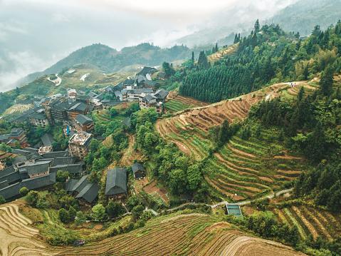 Indigenous Culture「aerial view on Longsheng rice terrace fields」:スマホ壁紙(16)