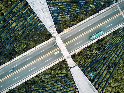 静かな情景「橋の空撮」:スマホ壁紙(17)