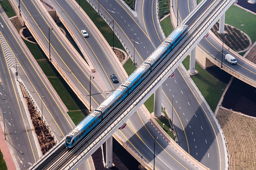Elevated Road「Aerial View of a Dubai Metro Train」:スマホ壁紙(14)