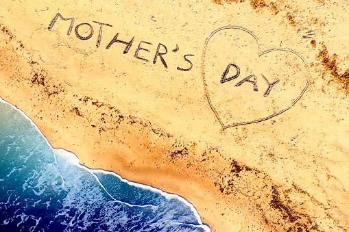 母の日「ビーチで母の日の空中ビュー」:スマホ壁紙(19)