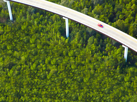 Elevated Road「Aerial View of overpass with red car」:スマホ壁紙(1)
