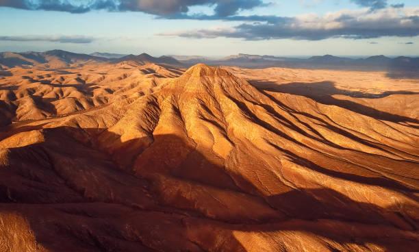 Aerial view of desert landscape, Fuerteventura island, Spain:スマホ壁紙(壁紙.com)