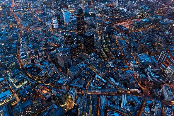風景「Aerial view of City of London at Night, UK」:写真・画像(0)[壁紙.com]