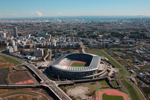 Kanagawa Prefecture「Aerial view of Nissan stadium, Yokohama City, Kanagawa Prefecture, Honshu, Japan」:スマホ壁紙(2)