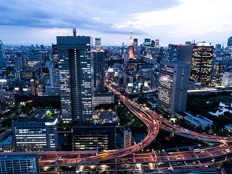 Tokyo Tower「Aerial view of townscape of Tokyo with highway.」:スマホ壁紙(4)