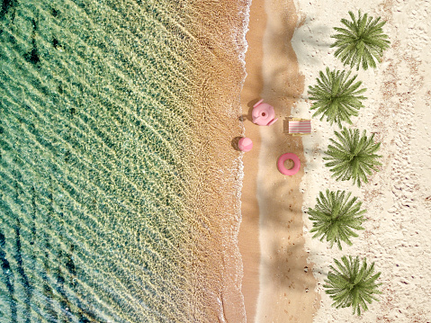 Resort「Aerial view of clear turquoise sea and beach, summer holiday travel background」:スマホ壁紙(18)