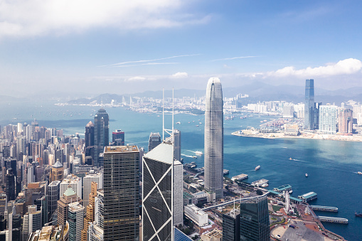 Hong Kong「Aerial View of Hong Kong Financial District」:スマホ壁紙(19)