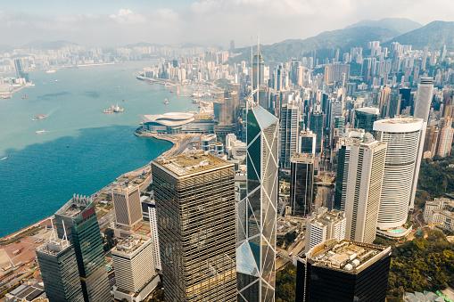 Victoria Peak「Aerial View of Hong Kong Financial District」:スマホ壁紙(11)
