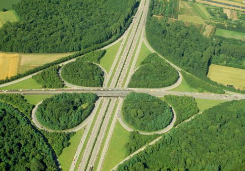 Clover Leaf Shape「Aerial View of Autobahn Overpass」:スマホ壁紙(14)