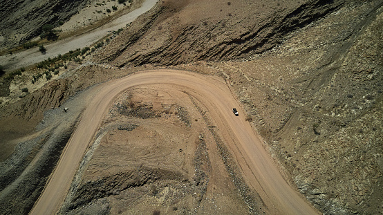 Hairpin Curve「Aerial view of a jeep on dirty track, Namib desert area, Namibia」:スマホ壁紙(11)