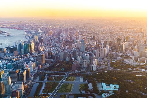 Tokyo Tower「Aerial view of Tokyo Japan Skyline」:スマホ壁紙(2)
