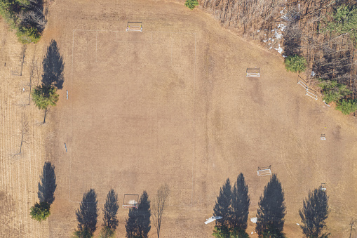 Goal Post「Aerial view of dry soccer field in summer during drought」:スマホ壁紙(1)
