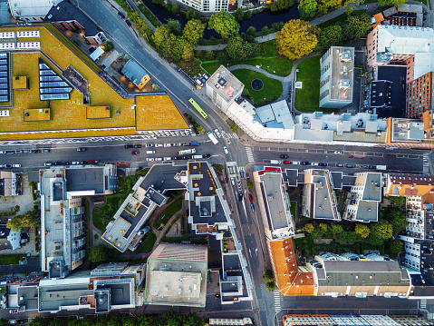 Drone Point of View「Aerial view over Scandinavian city」:スマホ壁紙(8)