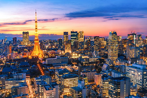 Tokyo - Japan「aerial view of modern city in tokyo at night」:スマホ壁紙(5)