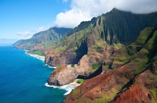 ハワイ ビーチ「空から見た「ナパリ海岸、カウアイ島(ハワイ州)」:スマホ壁紙(13)
