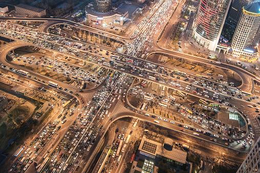 Beijing「Aerial View of City Traffic Jam」:スマホ壁紙(5)