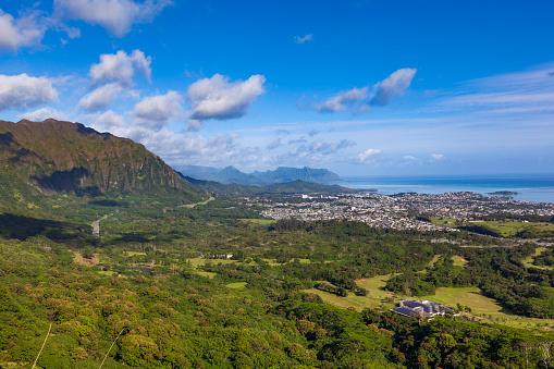 オアフ島「空撮オアフ島、ハワイ諸島」:スマホ壁紙(3)