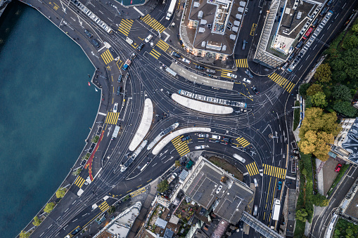 Cable Car「Aerial view of Central tram and bus station Zurich, Switzerland」:スマホ壁紙(0)