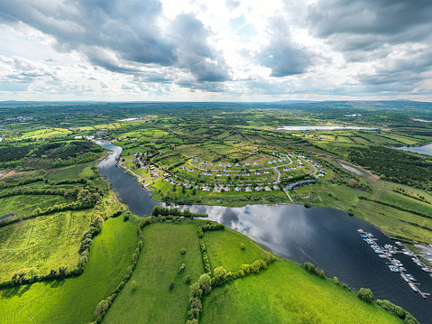 Chalet「Aerial view of rural Ireland with a housing estate」:スマホ壁紙(16)