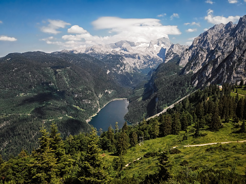 Dachstein Mountains「Aerial view of Dachstein massif and Gosau lake in Salzkammergut, Upper Austria」:スマホ壁紙(14)