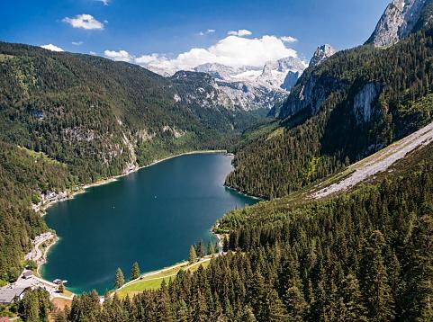 Dachstein Mountains「Aerial view of Dachstein massif and Gosau lake in Salzkammergut, Upper Austria」:スマホ壁紙(12)