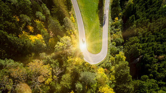 Hairpin Curve「Aerial view of a hairpin curve in a forest」:スマホ壁紙(5)