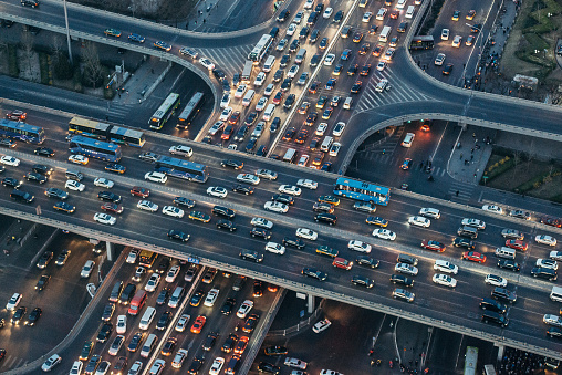 Elevated Road「Aerial View of Beijing Traffic Jam at Dusk」:スマホ壁紙(17)