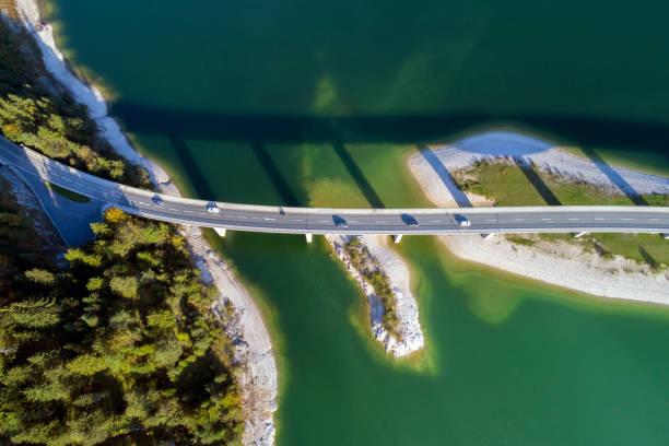 Aerial view of Bridge and Lake in Upper Bavaria, Germany:スマホ壁紙(壁紙.com)