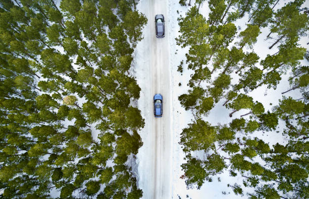 Aerial View Of A Road In Winter Forest:スマホ壁紙(壁紙.com)